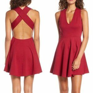 Lulus Going Steady Backless Skater Dress Red NWT